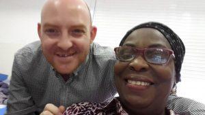 Ben (volunteer) and Ayo selfie
