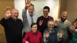 Paul, Chris, Patricia, Adam. Irene and Ashraf waving to the camera