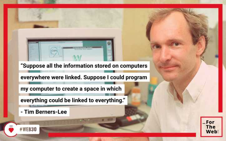"""Suppose all the information stored on computers everywhere were linked. Suppose I could program my computer to create a space in which everything could be linked to everything."" – Tim Berners-Lee"
