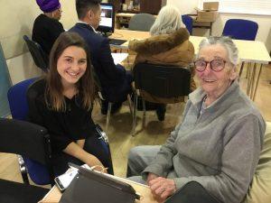 Volunteer Nicky with Irene