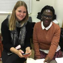 Volunteer Zoe with Elizabeth